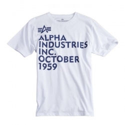"T-shirt ALPHA INDUSTRIES ""T-PRINT 21"" biały"