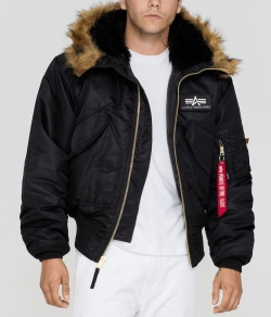 "Kurtka ALPHA INDUSTRIES ""45 P HOODED"" czarna"