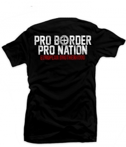 "T-shirt EUROPEAN BROTHERHOOD ""PRO BORDER PRO NATION"" czarny, Zdjęcie 1"