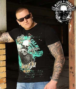 "T-shirt MAFIA & CRIME ""THE GUN"" czarny"