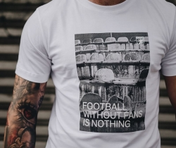 "T-shirt PGWEAR ""FOOTBALL WITHOUT FANS IS NOTHING"" biały, Zdjęcie 1"