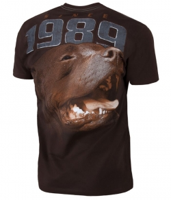 "T-shirt PIT BULL ""FIGHTER'' brązowy"