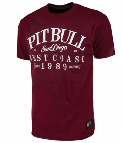 "T-shirt PIT BULL ""OLDSCHOOL"" bordowy"