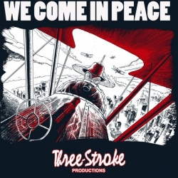 "T-shirt THREE STROKE ""WE COME IN PEACE"" granatowy, Zdjęcie 1"