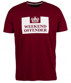 "T-shirt WEEKEND OFFENDER ""PRISON TEE"" bordowy"